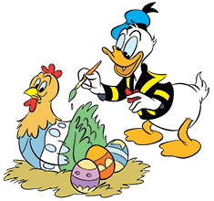 Donald Duck malt Henne an