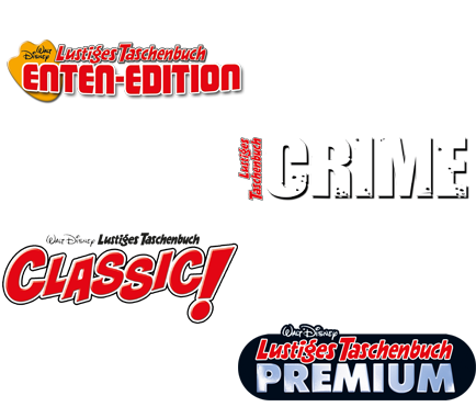 LTB Enten-Edition 67, LTB Crime 10, LTB Classic Edition 8 und LTB Premium 27.