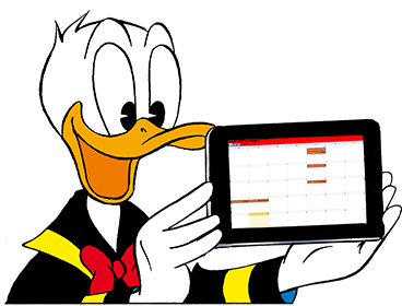 Donald Duck zeigt sein Tablet